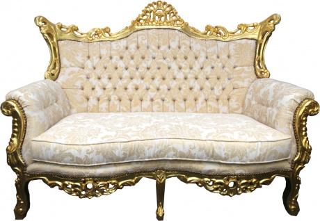 Casa Padrino Barock 2er Sofa Creme Muster / Gold - Antik Stil Wohnzimmer Möbel