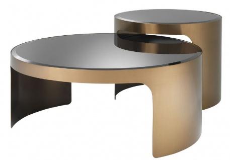 Casa Padrino Designer Couchtisch Set Kupfer / Schwarz - Luxus Edelstahl Wohnzimmertische mit Glasplatten - Luxus Wohnzimmer Möbel
