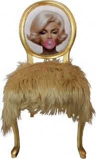 Casa Padrino Luxus Barock Esszimmerstuhl Marilyn Monroe Bubble Gum Crazy mit Kunstfell Mehrfarbig / Blond / Gold 50 x 60 x H. 104 cm - Handgefertigter Pop Art Designer Stuhl - Limited Edition