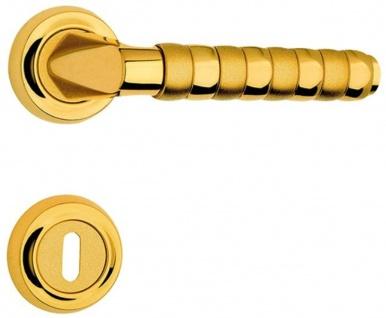 Casa Padrino Luxus Türgriff Set Gold 15, 7 x H. 5, 4 cm - Hochwertige Messing Türklinken mit Rosetten - Luxus Kollektion