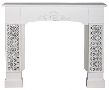 Casa Padrino Landhausstil Kaminumrandung mit Verzierungen Weiß 115 x 23 x H. 100 cm - Landhausstil Möbel