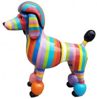 Casa Padrino Designer Gartendeko Skulptur Pudel Hund Mehrfarbig Gestreift 64 x H. 63 cm - Gartendeko Figur - Wetterbeständige Gartenfigur - Dekorative Tierfigur