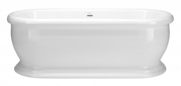 Casa Padrino Art Deco Badewanne freistehend Weiß Modell He-Der 1735mm - Freistehende Retro Antik Badewanne Barock