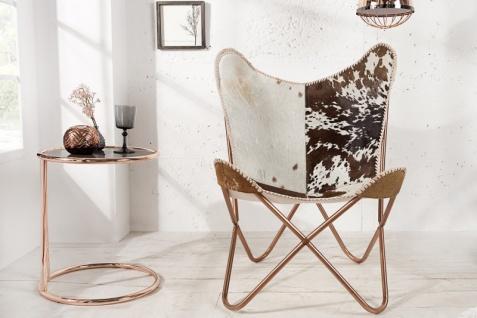 Casa Padrino Echtfell Designer Sessel Braun / Weiß - Relax Kuhfell Stuhl