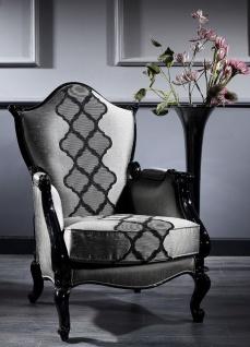 Casa Padrino Luxus Barock Sessel Silber / Grau / Schwarz 79 x 75 x H. 115 cm - Barockstil Wohnzimmer Sessel - Barock Möbel - Vorschau 1