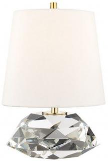 Casa Padrino Luxus Tischleuchte Antik Messing / Weiß Ø 24 x H. 35 cm - Elegante Tischlampe mit rundem Leinen Lampenschirm - Luxus Qualtät