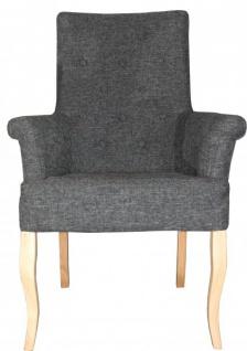 Casa Padrino Luxus Esszimmer Stuhl Grau mit Armlehnen - Barock Möbel