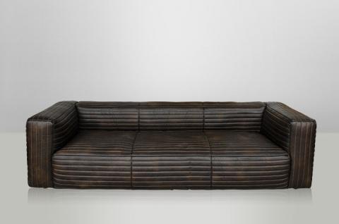 Casa Padrino Luxus Echt Leder Sofa VLAB Leder New Fudge - 3 Sitzer - Luxus Hotel Club Möbel