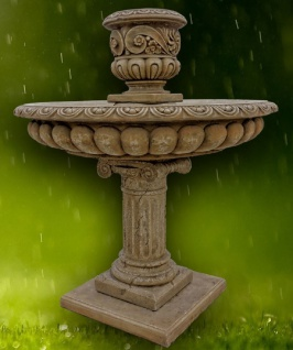 Casa Padrino Barock Gartenbrunnen Dunkelgrau Ø 114 x H. 137 cm - Prunkvoller runder Springbrunnen mit Blumentopf