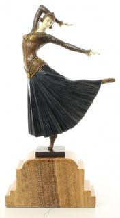 Casa Padrino Luxus Bronzefigur Tänzerin Mehrfarbig / Beige 26 x 9 x H. 46, 9 cm - Dekofigur