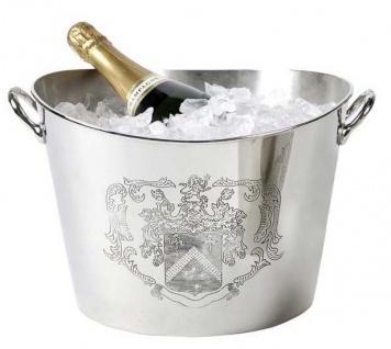 Massiver Luxus Tisch Champagner Kühler Coat of Arms vernickelt H 22cm B 37.5 cm aus dem Hause Casa Padrino