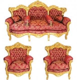 Casa Padrino Barock Wohnzimmer Set Bordeaux Bouquet Muster / Gold - 3er Sofa + 2 Sessel