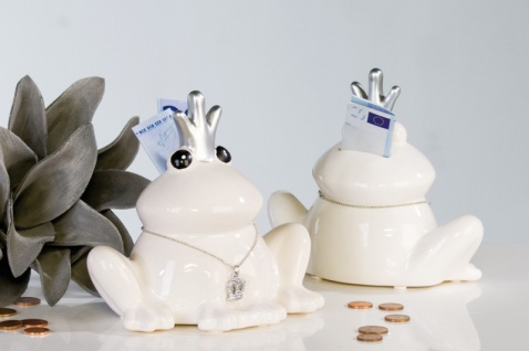 """Designer Spardose """" Froschkönig"""" mit silberner Krone, Kette und Gummistopfen, Höhe 14 cm, edle Skulptur aus Keramik - Edel & Prunkvoll"""