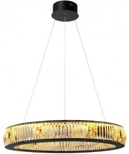 Casa Padrino Luxus LED Kronleuchter Schwarz Ø 91 x H. 13 cm - Moderner runder Kristallglas Kronleuchter - Luxus Qualität