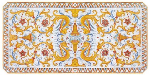 Casa Padrino Luxus Jugendstil Esstisch Mehrfarbig / Schwarz - Handgefertigter Gartentisch mit handbemalter Tischplatte und Metallgestell - Garten Terrassen Esszimmer Möbel