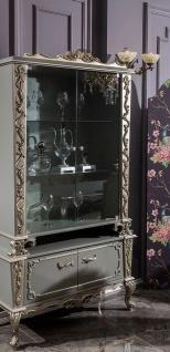 Casa Padrino Luxus Barock Vitrine Grau / Silber 110 x 47 x H. 201 cm - Massivholz Vitrinenschrank im Barockstil - Edel & Prunkvoll
