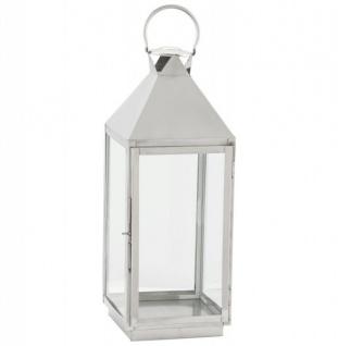 Casa Padrino Designer Laterne Aluminium Silber / Glas - Kerzenleuchter Vintage Stil