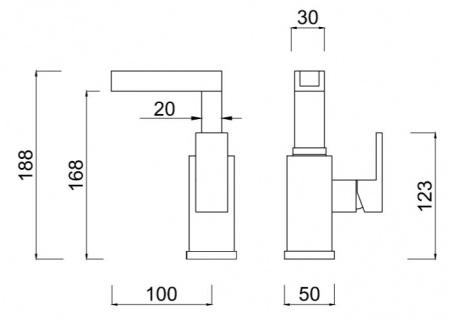 Luxus Badezimmer Waschtischarmatur Silber H. 18, 8 cm - Einhand-Waschtischbatterie mit Wasserfall-Auslauf - Vorschau 2