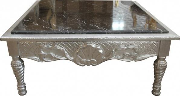 Casa Padrino Barock Couchtisch Silber mit schwarzer Marmorplatte 95 x 95 x 43.5 cm - Unikat