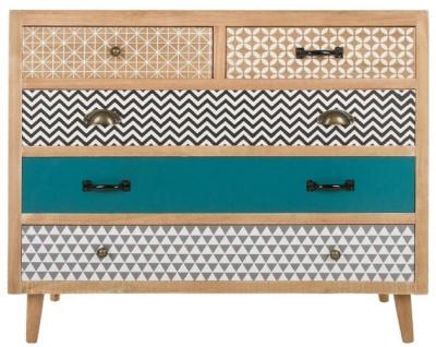 Casa Padrino Luxus Kommode mit 5 Schubladen Naturfarben / Mehrfarbig 90 x 40 x H. 80 cm - Kommode im 70er Jahre Design