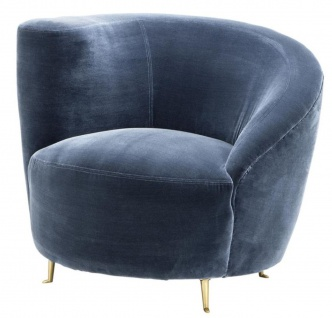 Casa Padrino Designer Sessel Blau 91 x 85 x H. 74 cm - Luxus Kollektion