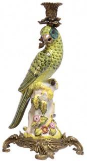 Casa Padrino Jugendstil Messing Kerzenständer mit Porzellan Papagei Mehrfarbig / Grün / Gold 15, 9 x 15, 3 x H. 36, 3 cm - Deko Kerzenhalter
