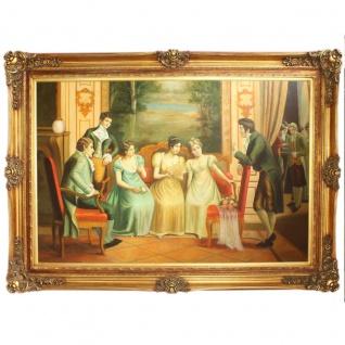 Riesiges Handgemaltes Barock Öl Gemälde Fräuleins Gold Prunk Rahmen 225 x 165 x 10 cm - Massives Material