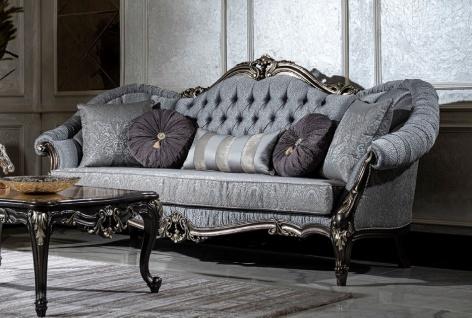 Casa Padrino Luxus Barock Sofa Hellblau / Grau / Dunkelgrau / Gold - Prunkvolles Wohnzimmer Sofa mit dekorativen Kissen - Wohnzimmer Möbel im Barockstil