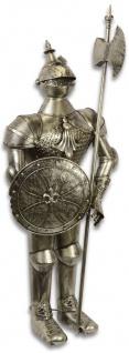 Casa Padrino Eisen Rüstung / Ritterrüstung mit Schild und Lanze Antik Silber H. 140 cm - Mittelalter Deko