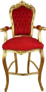 Casa Padrino Barock Hochstuhl Barstuhl Rot / Gold - Bar Hocker Stuhl Möbel