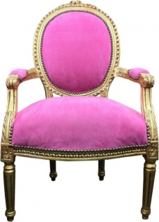 Casa Padrino Barock Salon Stuhl Rose / Gold Mod2