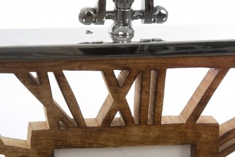 Casa Padrino Luxus Tischuhr / Wanduhr im Design einer antiken Taschenuhr Silber Naturfarben 30 x 5 x H. 40 cm - Dekorative Uhr mit einem Ziffernblatt aus unbehandeltem Holz - Vorschau 3
