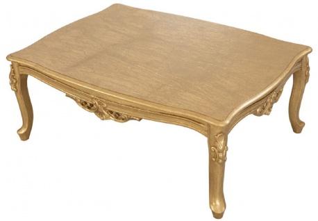 Casa Padrino Luxus Barock Massivholz Couchtisch Gold - Handgefertigter Wohnzimmertisch im Barockstil - Barock Wohnzimmer Möbel - Vorschau 3