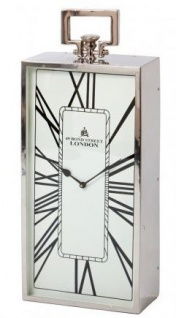 Casa Padrino Designer Luxus Uhr London 25, 5 cm x 11, 5 cm x H. 60, 5 cm Nickel - Tischuhr - Vorschau