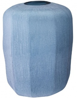 Casa Padrino Luxus Deko Glas Vase Blau Ø 33 x H. 42 cm - Mundgeblasene Blumenvase - Luxus Deko Accessoires