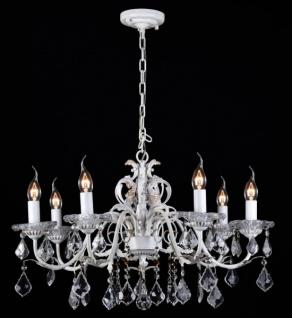 Casa Padrino Barock Decken Kristall Kronleuchter Weiß Gold 70 x H 51 cm Antik Stil - Möbel Lüster Leuchter Hängeleuchte Hängelampe