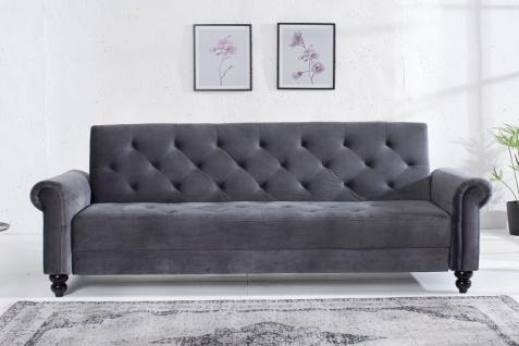 Casa Padrino Designer Sofa Grau 225 cm x 90 cm x 80-113 cm - Chesterfield Schlafsofa