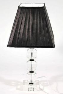 Elegante Kristall Hockerleuchte mit schwarzem plissiertem Lampenschirm Leuchte Lampe