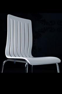 Designer Stuhl aus Holz und verchromtem Stahl, Weiß, Esszimmerstuhl, moderner Wohnzimmerstuhl - Vorschau 2