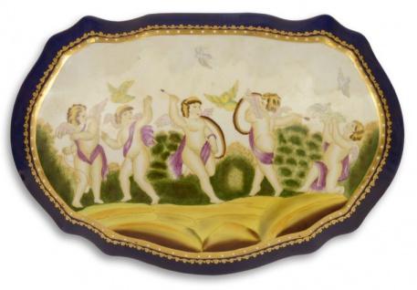 Casa Padrino Jugendstil Porzellan Schmuckschatulle Engel Mehrfarbig 32 x 21, 6 x H. 12, 4 cm - Deko Accessoires im Jugendstil