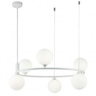 Casa Padrino Luxus Hängeleuchte Weiß / Weiß Ø 58 x H. 28 cm - Moderne höhenverstellbare Metall Hängelampe mit runden Glas Lampenschirmen