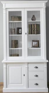 Casa Padrino Landhausstil Massivholz Schrank mit 3 Türen und 3 Schubladen Weiß 120 x 51 x H. 228 cm - Wohnzimmerschrank - Landhausstil Möbel