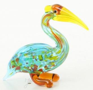 Casa Padrino Glasfigur Kormoran Vogel - bunte Dekofigur aus Glas - Figur Skulptur Deko Dekoration Geschenk