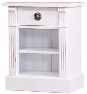 Casa Padrino Landhausstil Nachttisch mit Schublade und Regal Antik Weiß 49 x 33 x H. 60 cm - Massivholz Nachtkommode - Nachtschrank - Landhausstil Schlafzimmermöbel