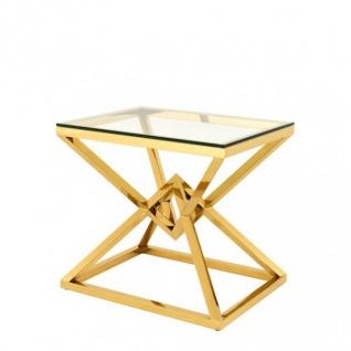 Casa Padrino Luxus Beistelltisch Edelstahl Gold Finish 65 x 50 x H 60 cm - Tisch Möbel