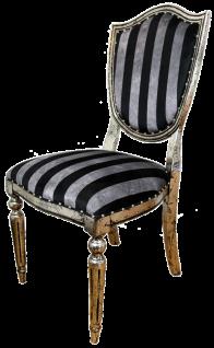 Casa Padrino Art Deco Luxus Esszimmer Stuhl Schwarz Silber Streifen / Antik Stil Silber 52, 5 x 59 x H. 104 cm - Luxus Hotel Möbel