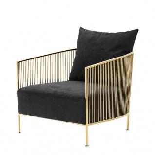 Casa Padrino Luxus Sessel Schwarz / Gold 69 x 77 x H. 78 cm - Designer Hotel Möbel