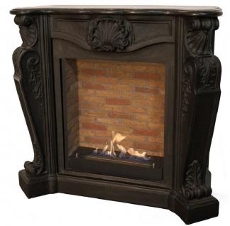 Casa Padrino Jugendstil Kamin mit Biobrenner Schwarz 127, 5 x 48, 5 x H. 111 cm - Prunkvoller Bioethanolkamin mit edlen Verzierungen und Steindekor - Luxus Qualität