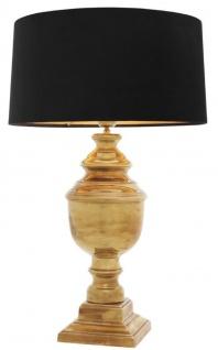 Casa Padrino Luxus Tischleuchte Vintage Messingfarben / Schwarz Ø 40 x H. 63, 5 cm - Runde Tischlampe mit Samt Lampenschirm