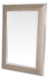 Casa Padrino Designer Spiegel mit cremefarbigen Cobra Druck 100 x H. 140 cm - Luxus Wohnzimmer Wandspiegel